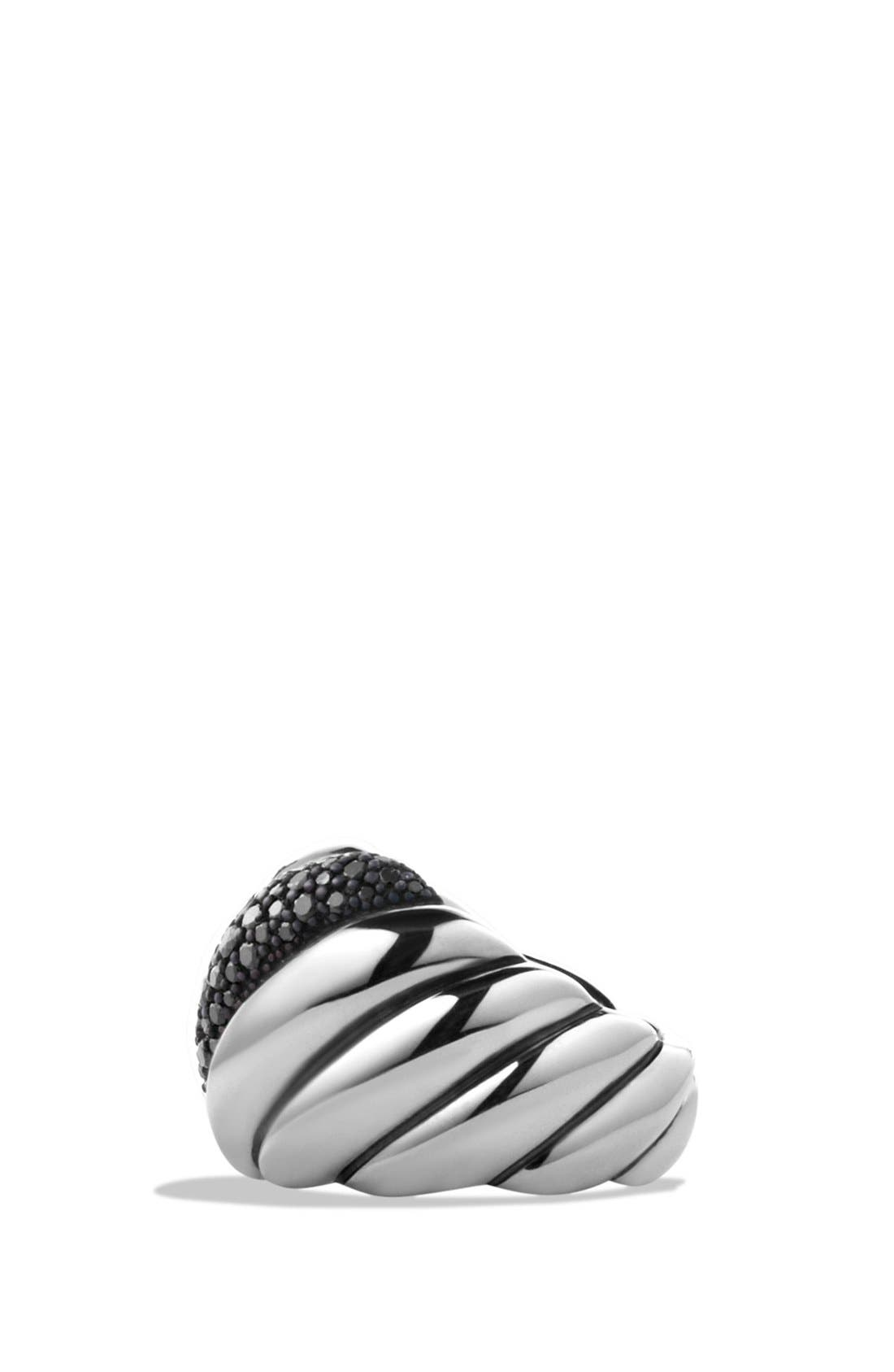 Alternate Image 4  - David Yurman 'Hampton Cable' Ring with Gray Diamonds and Blue Sapphires