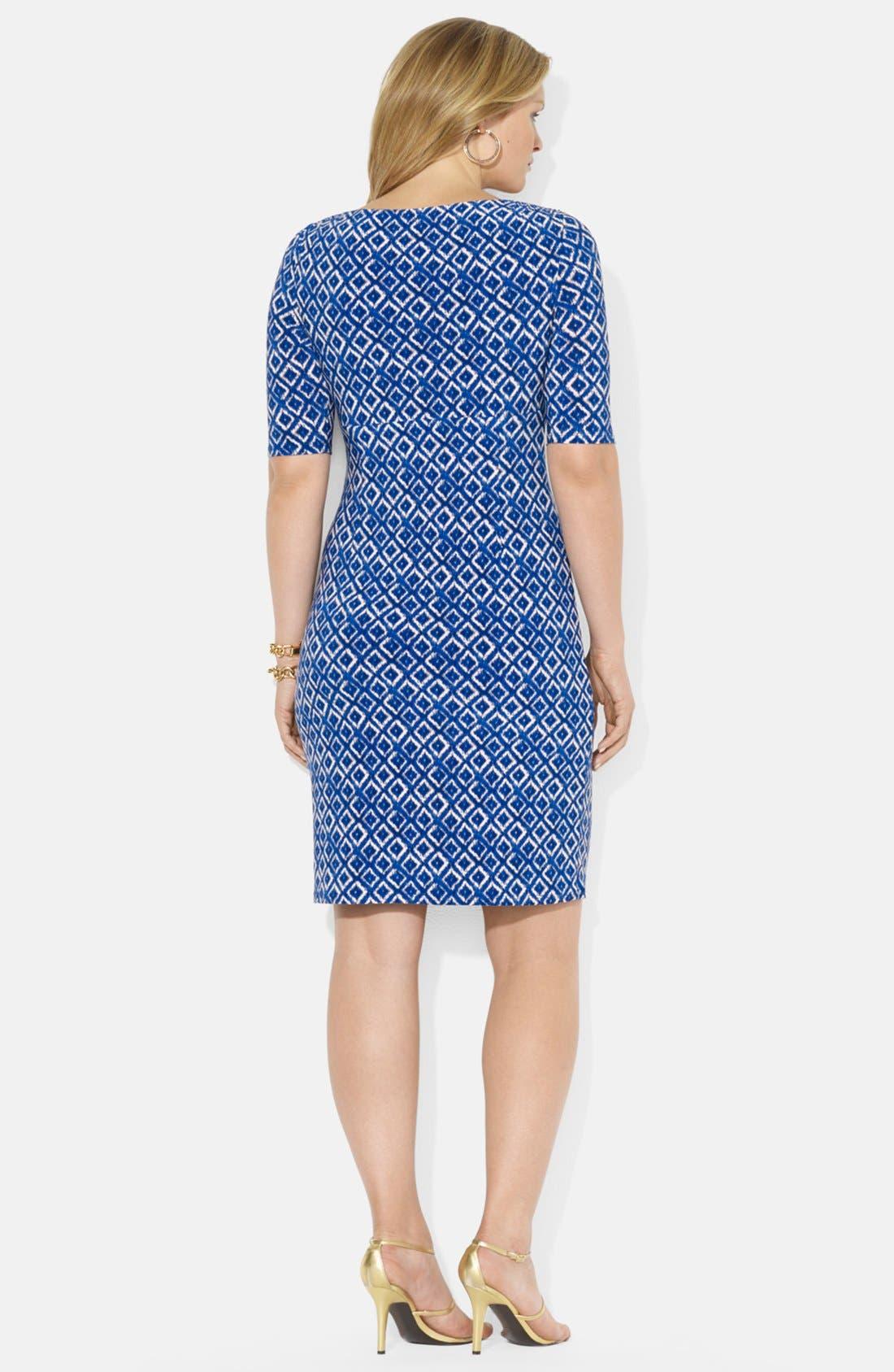 Alternate Image 2  - Lauren Ralph Lauren Ikat Print Matte Jersey Dress (Plus Size)