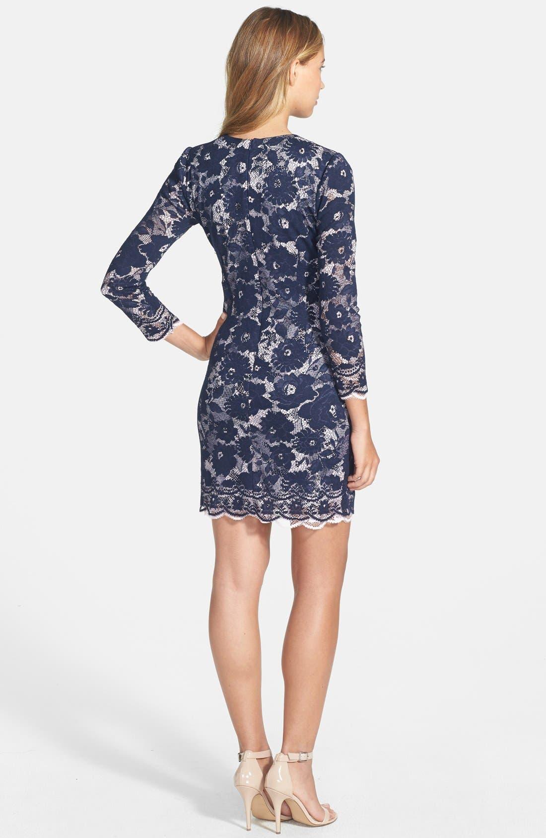 Alternate Image 2  - Maia Double Layer Lace Sheath Dress