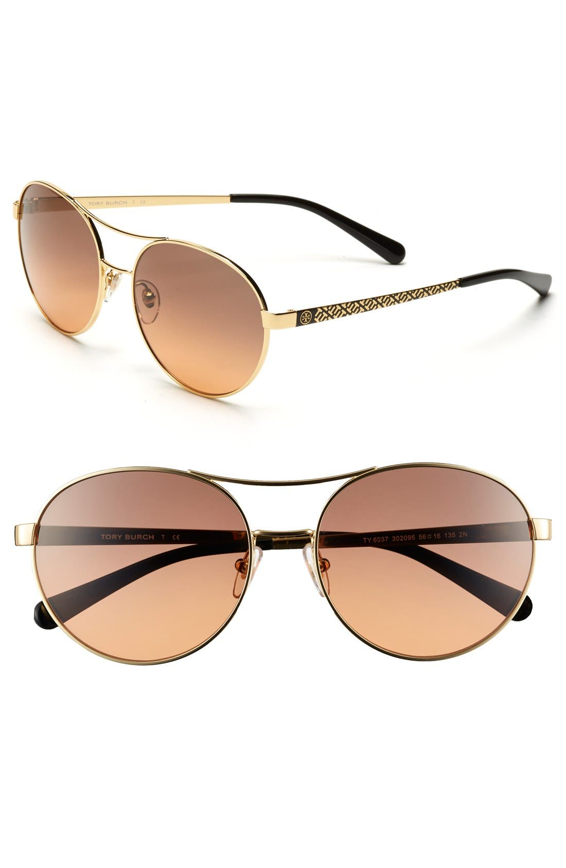 Alternate Image 1 Selected - Tory Burch Round 56mm Sunglasses