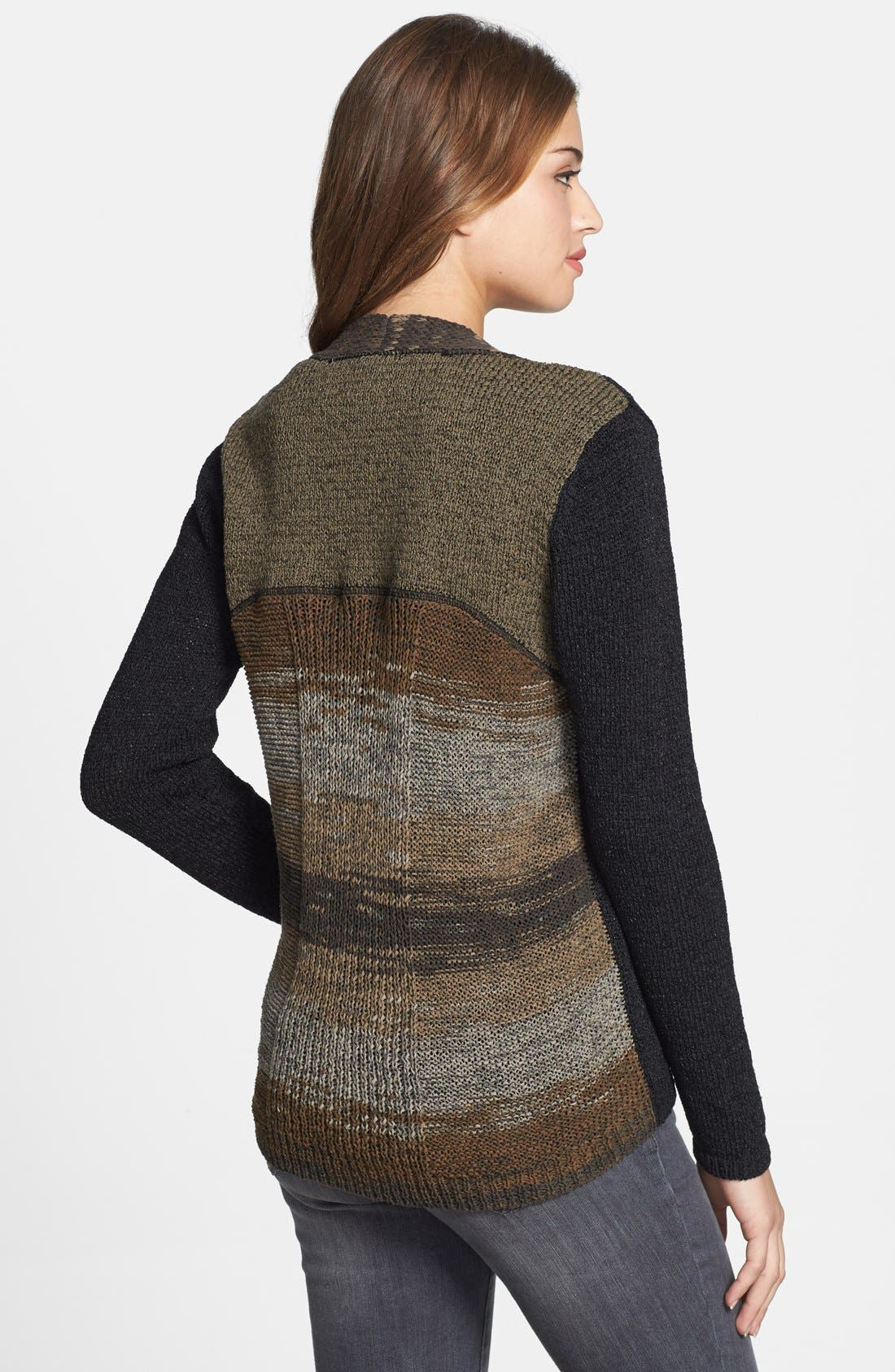 Alternate Image 2  - Curio Colorblock Open Front Cotton Blend Cardigan (Regular & Petite) (Online Only)