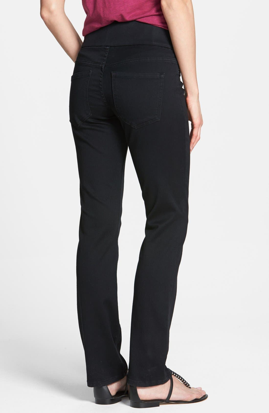 Alternate Image 2  - Liverpool Jeans Company 'Jillian' Pull-On Straight Leg Jeans (Black Rinse)