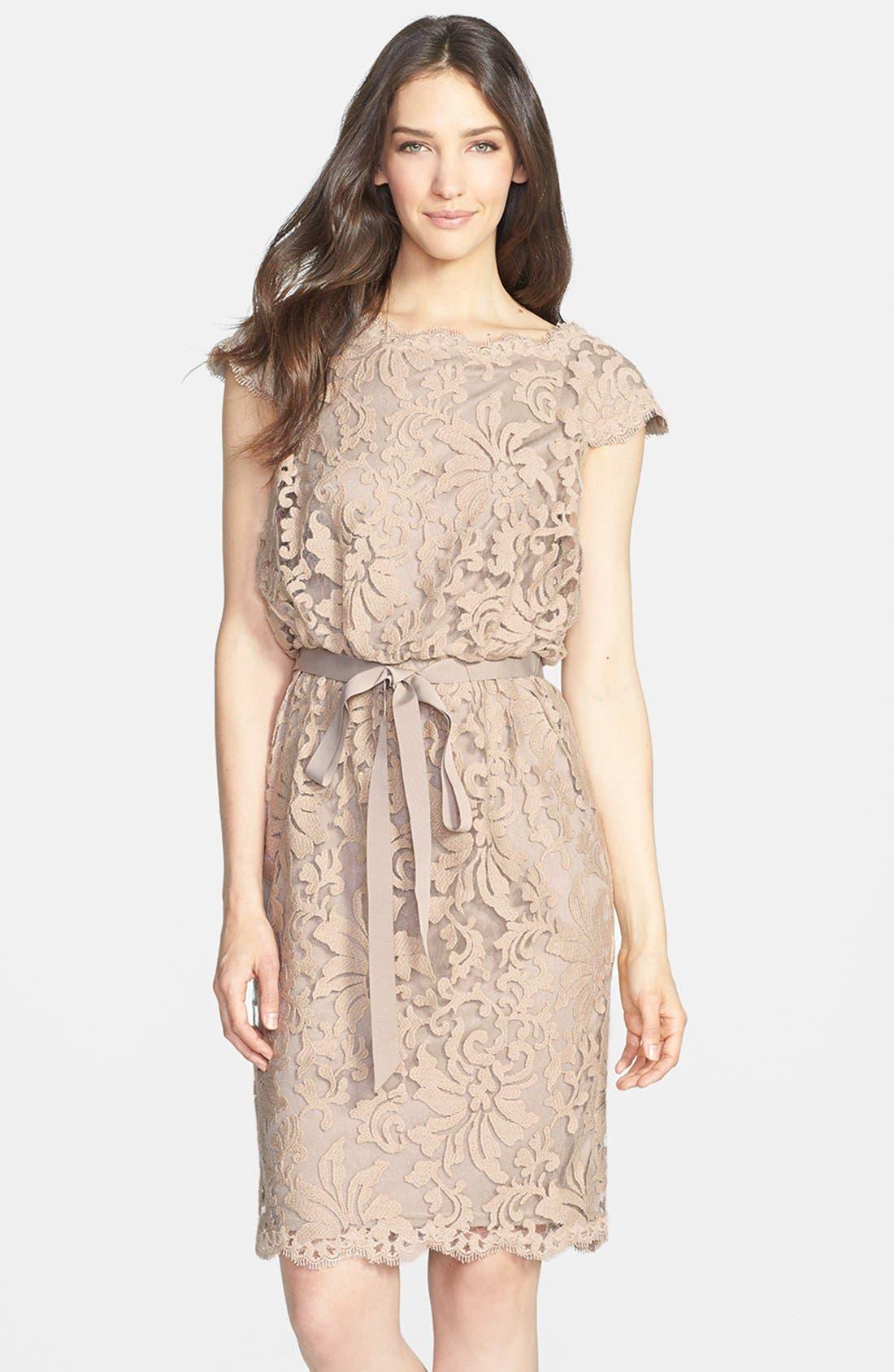 Alternate Image 1 Selected - Tadashi Shoji Lace Blouson Dress