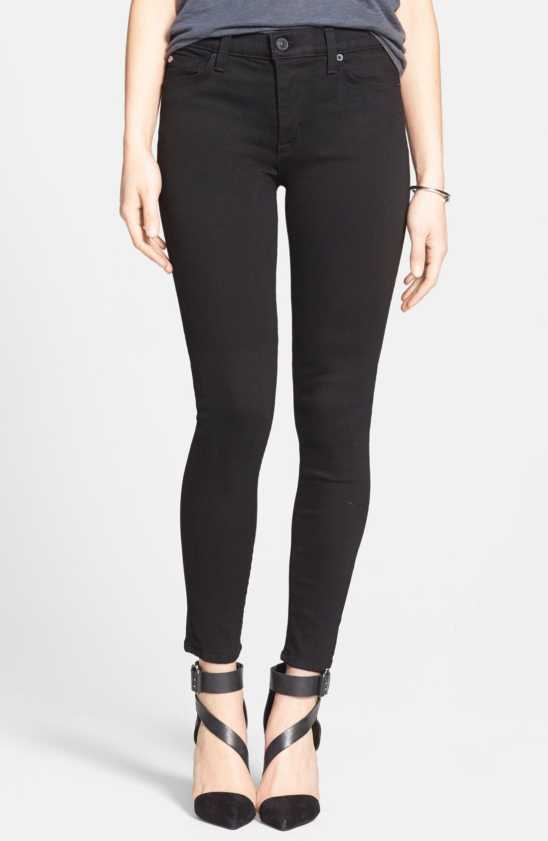 Alternate Image 1 Selected - Hudson Jeans 'Nico' Mid Rise Super Skinny Jeans (Black)