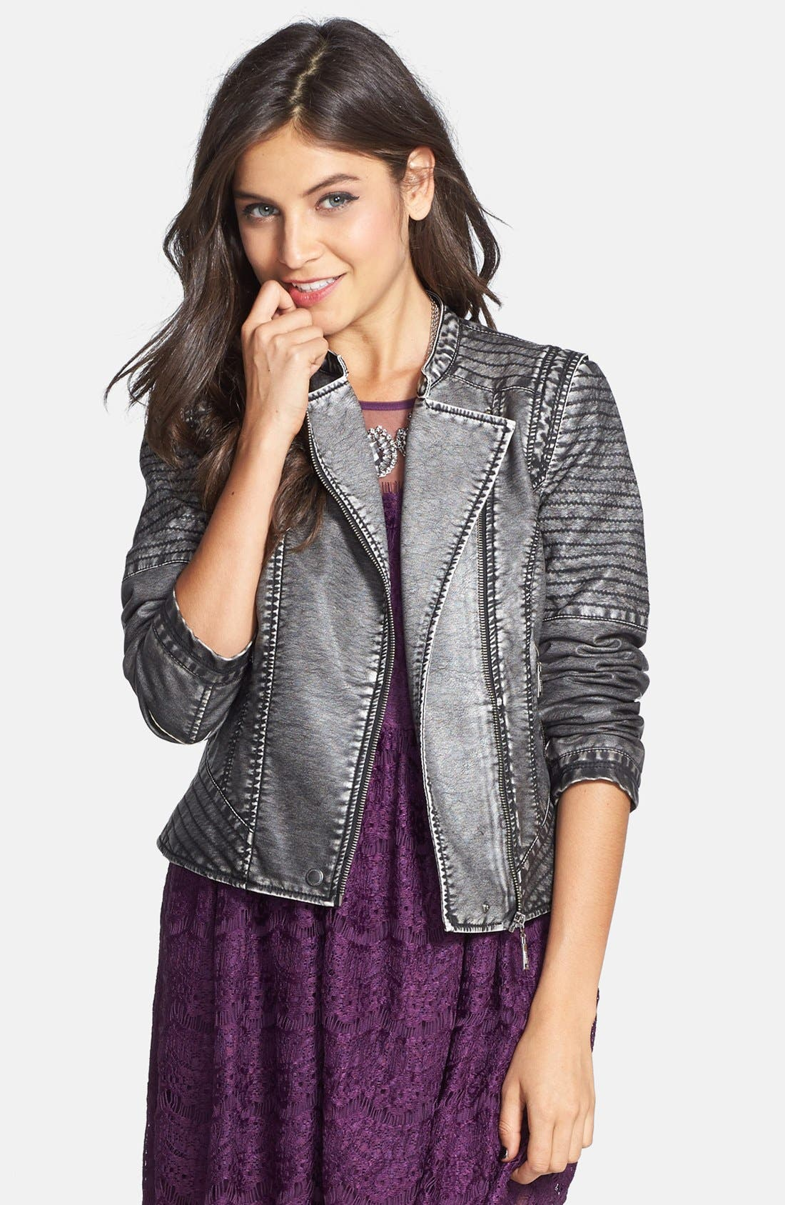 Main Image - Jou Jou Faux Leather Moto Jacket (Juniors)