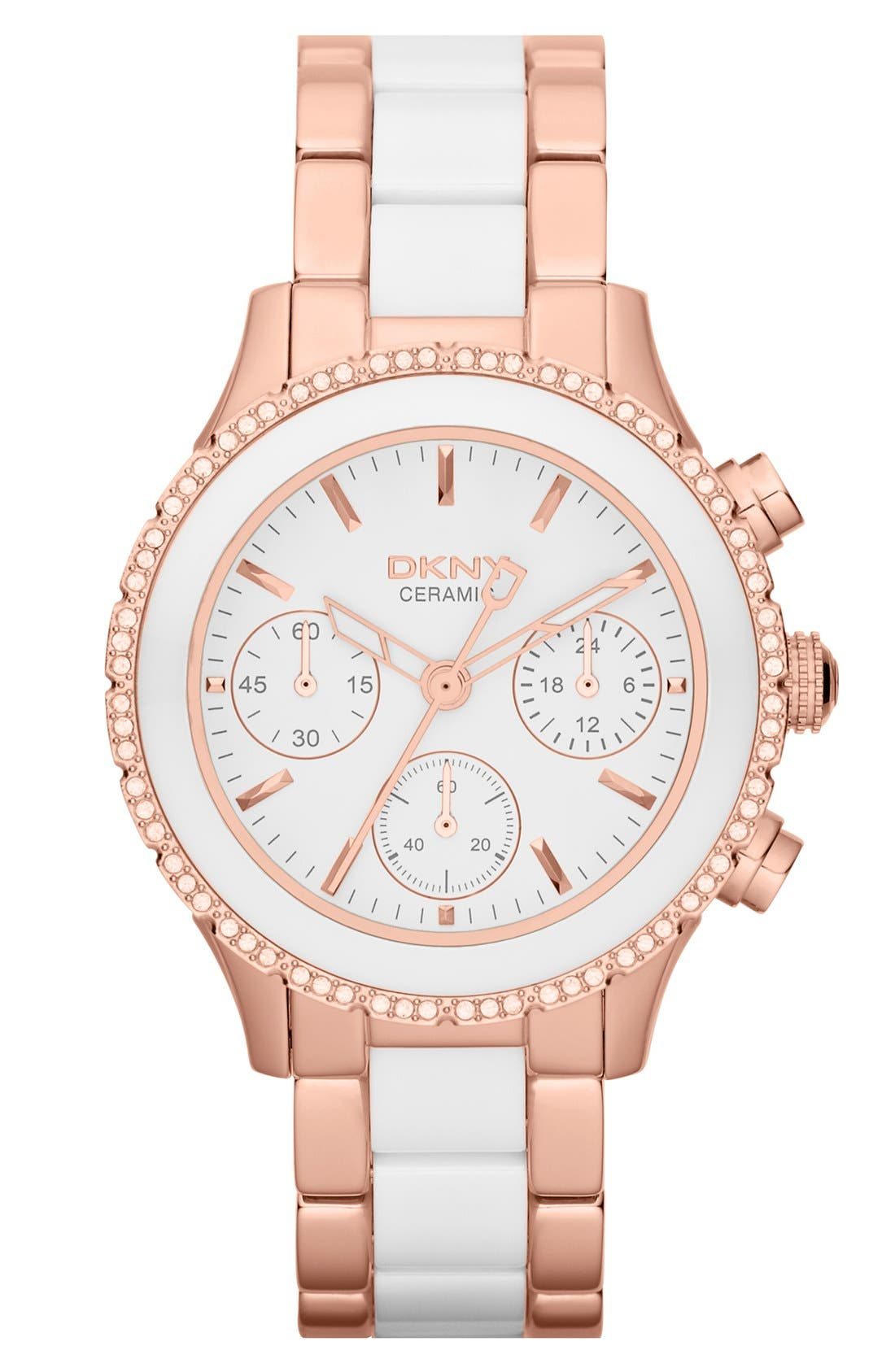 Alternate Image 1 Selected - DKNY 'Westside' Crystal Bezel Chronograph Ceramic Bracelet Watch, 38mm