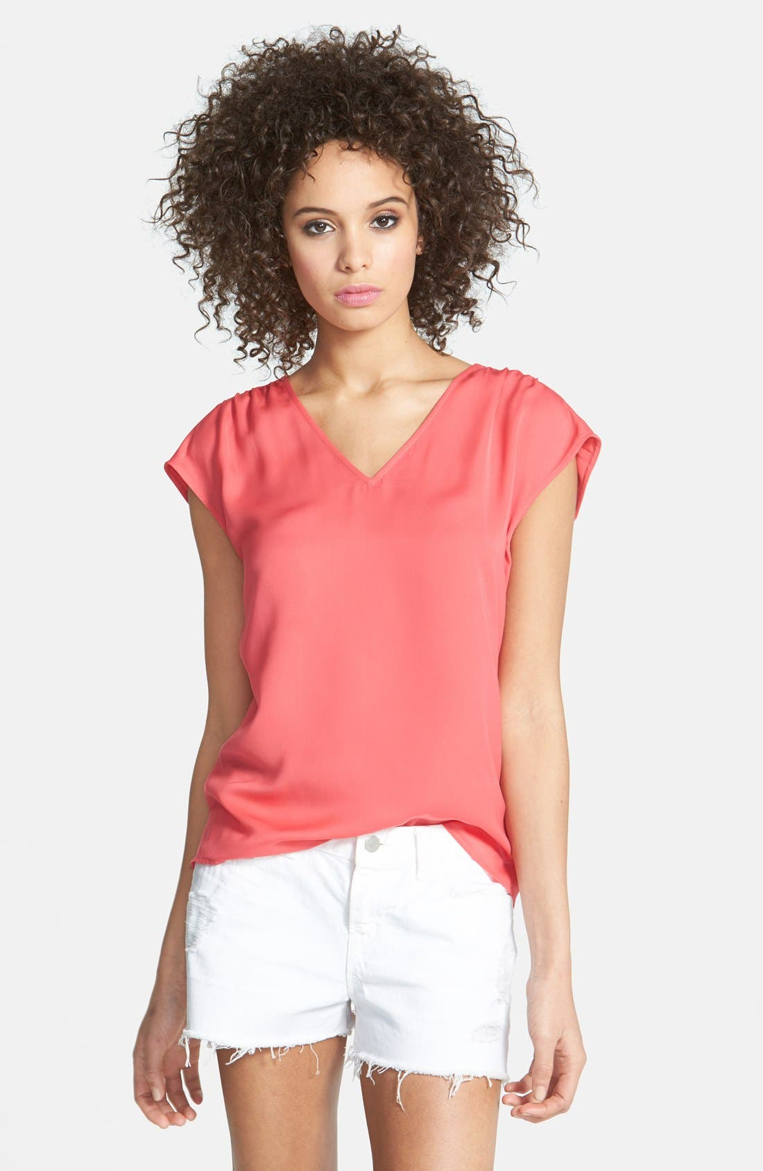 Main Image - Hinge® Woven V-Neck Top