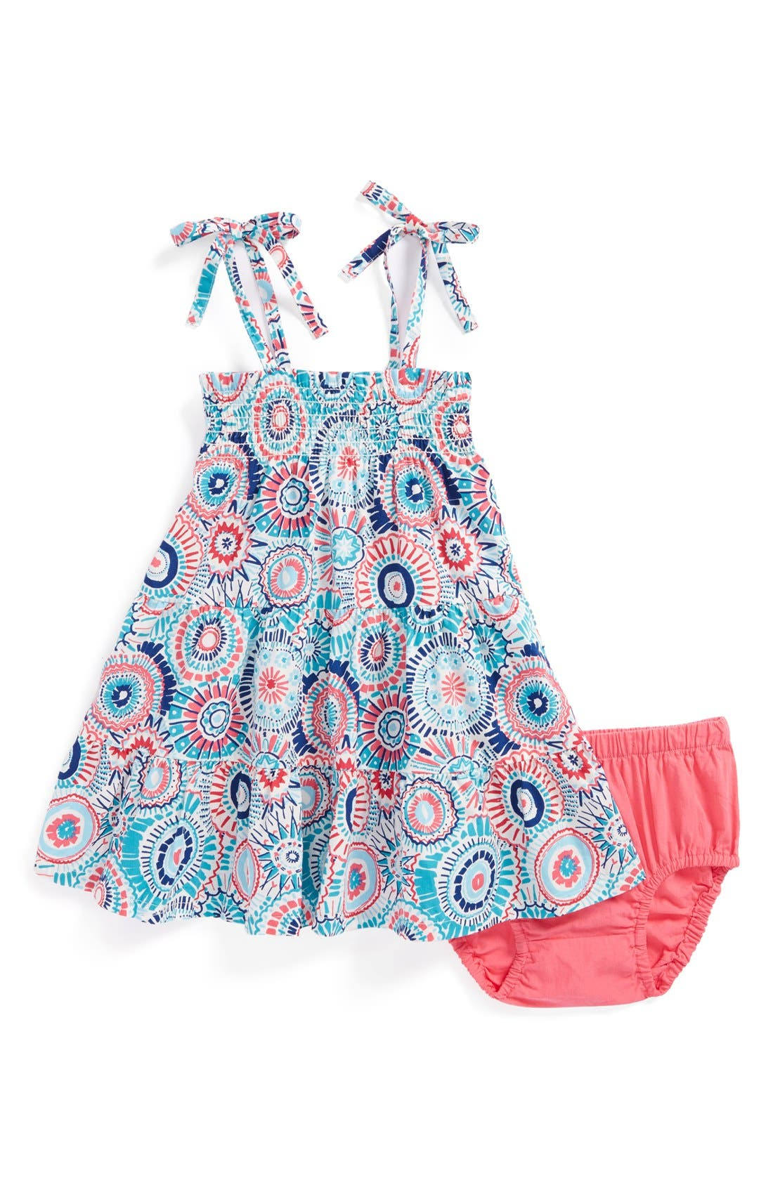 Alternate Image 1 Selected - Tea Collection 'Sea Anemone' Shoulder Tie Sundress (Baby Girls)