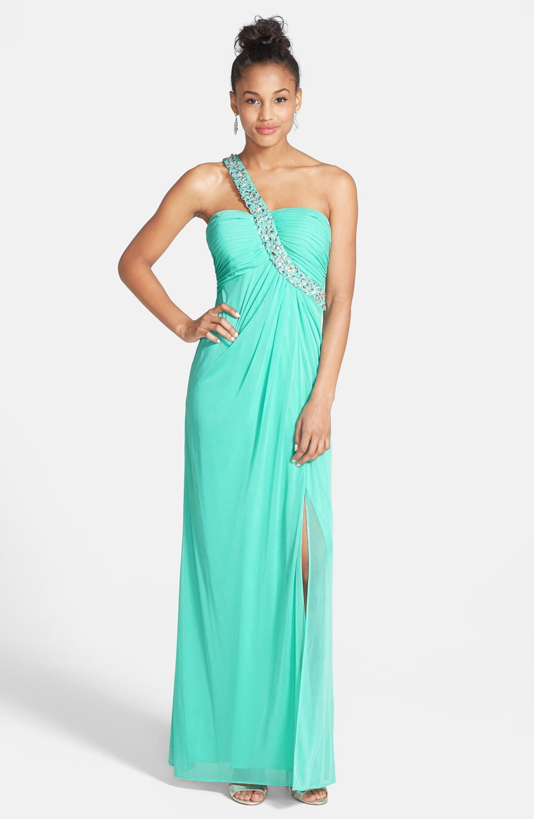 Main Image - Betsy & Adam Beaded Shoulder Chiffon & Jersey Gown