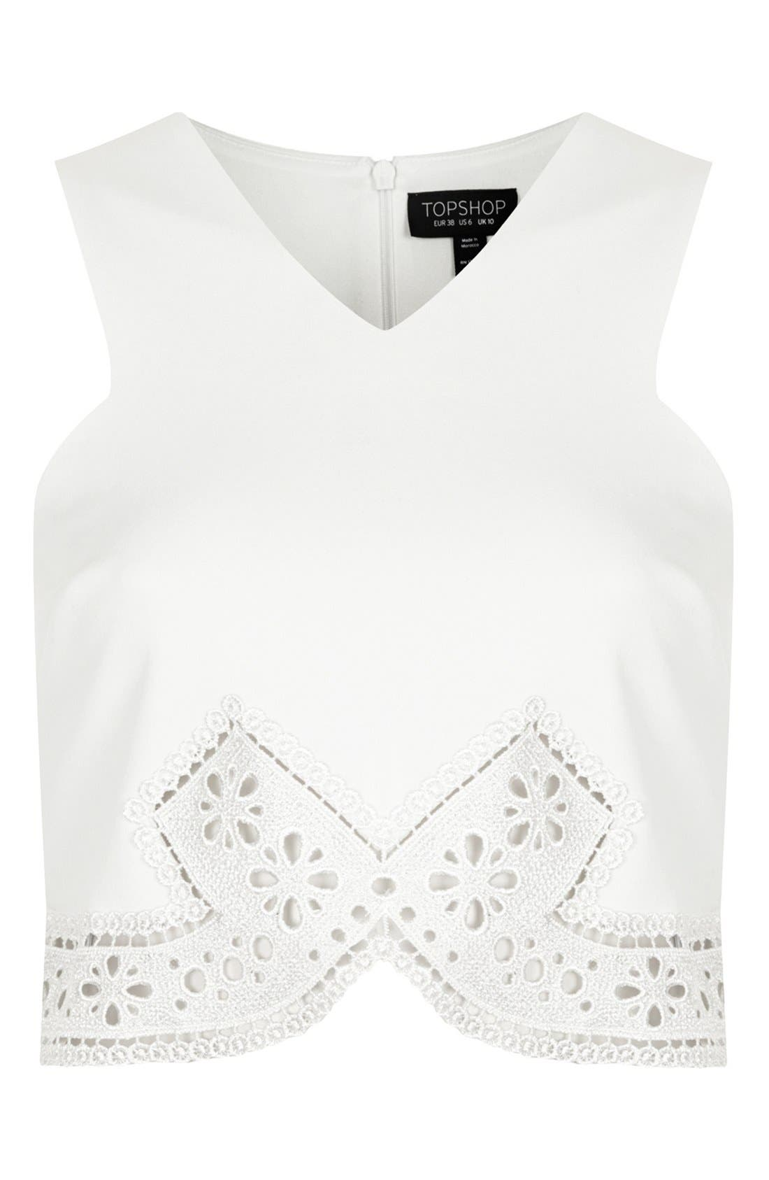 Alternate Image 3  - Topshop Lace Trim Crop Top