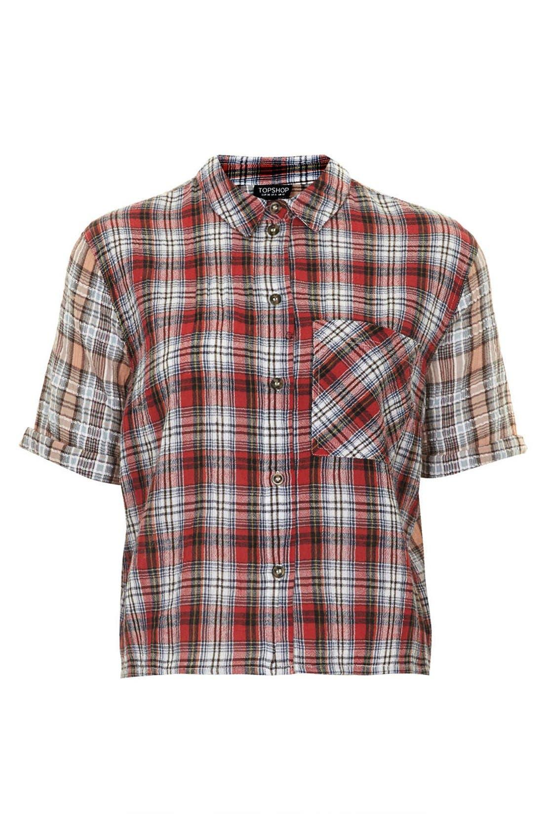 Alternate Image 3  - Topshop Check Seersucker Shirt