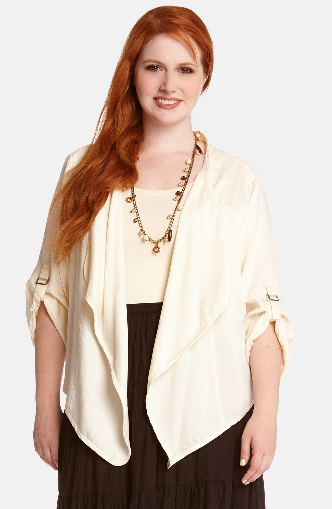 Alternate Image 1 Selected - Karen Kane Roll Sleeve Twill Cascade Jacket (Plus Size)
