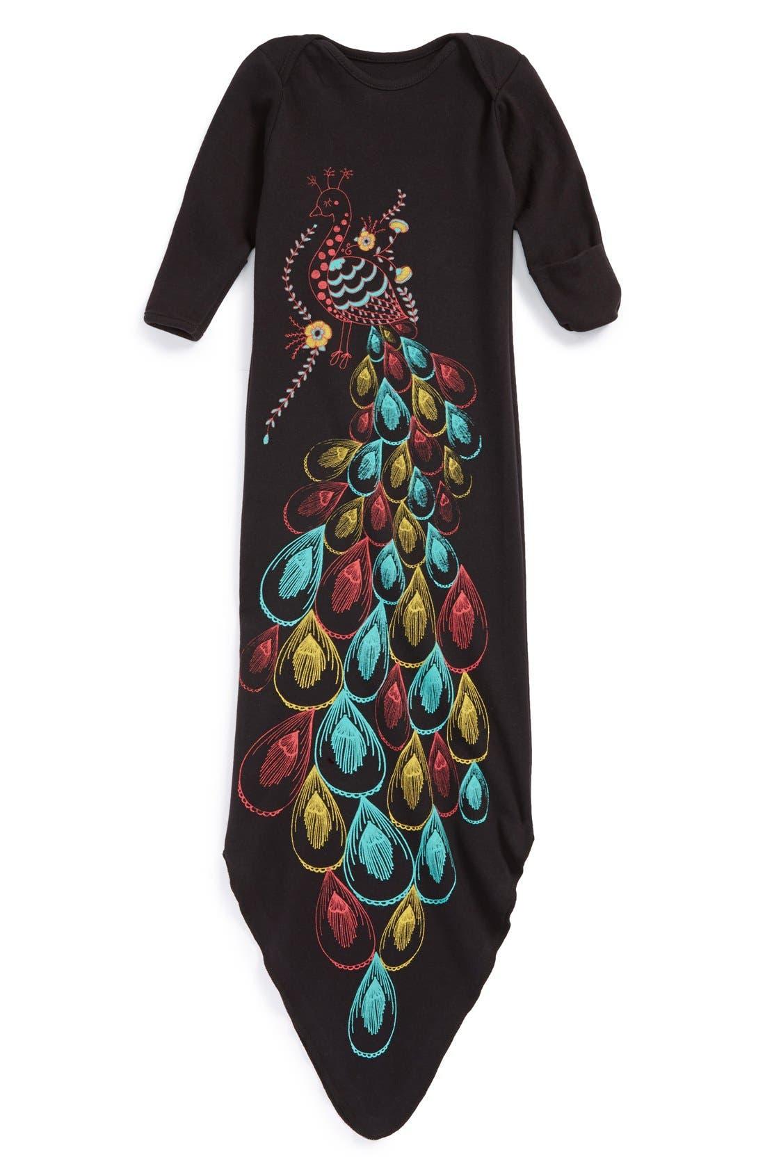 Alternate Image 2  - Electrik Kidz 'Peacock' Organic Cotton Gown (Baby Girls)