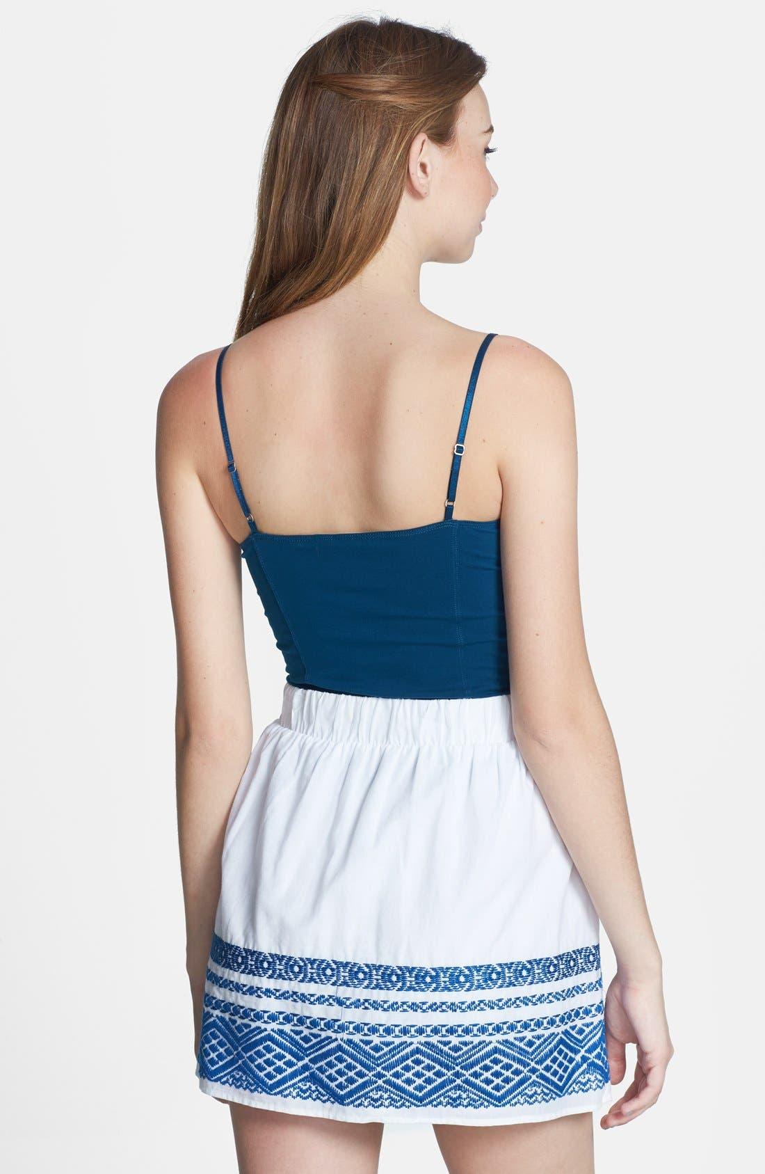 Alternate Image 2  - Socialite Embroidered Hem Cotton Skirt (Juniors)