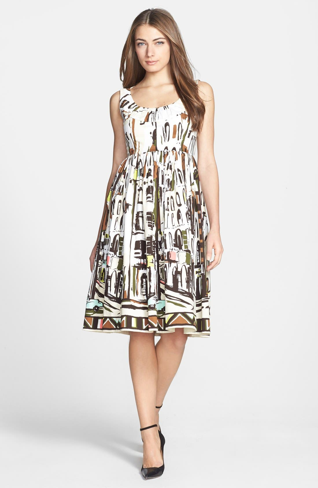 Main Image - kate spade new york 'landscape' print stretch cotton fit & flare dress