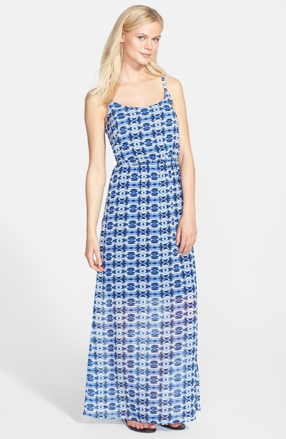 Main Image - Bobeau Print Elastic Waist Maxi Dress
