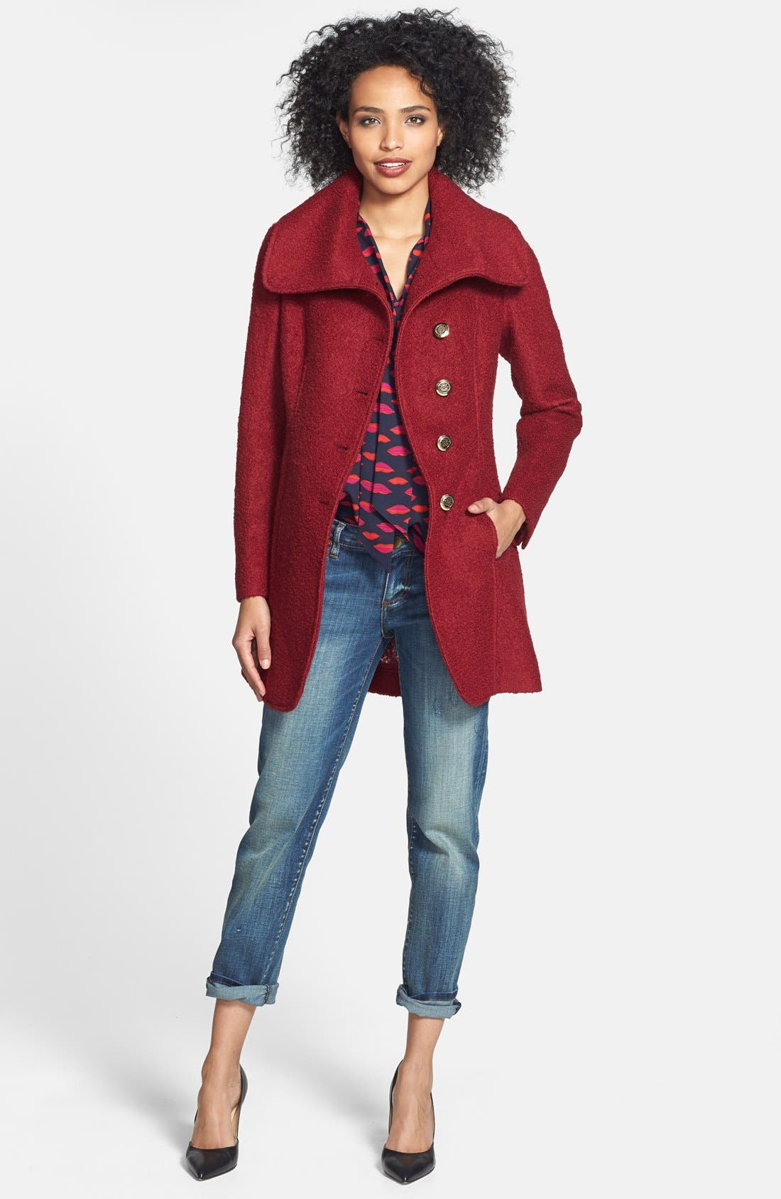 Alternate Image 5  - GUESS Cutaway Front Bouclé Coat (Regular & Petite) (Online Only)