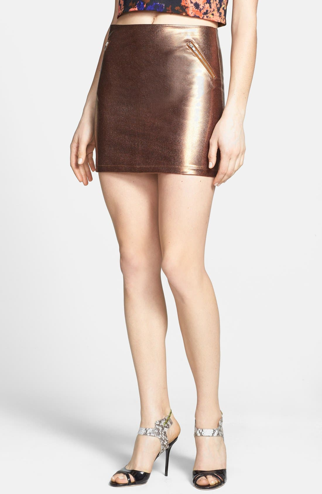Main Image - Rules of Etiquette Metallic Miniskirt