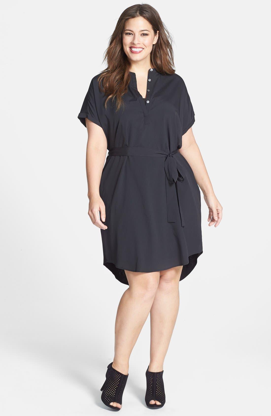 Alternate Image 1 Selected - DKNYC Half Placket Shirtdress (Plus Size)