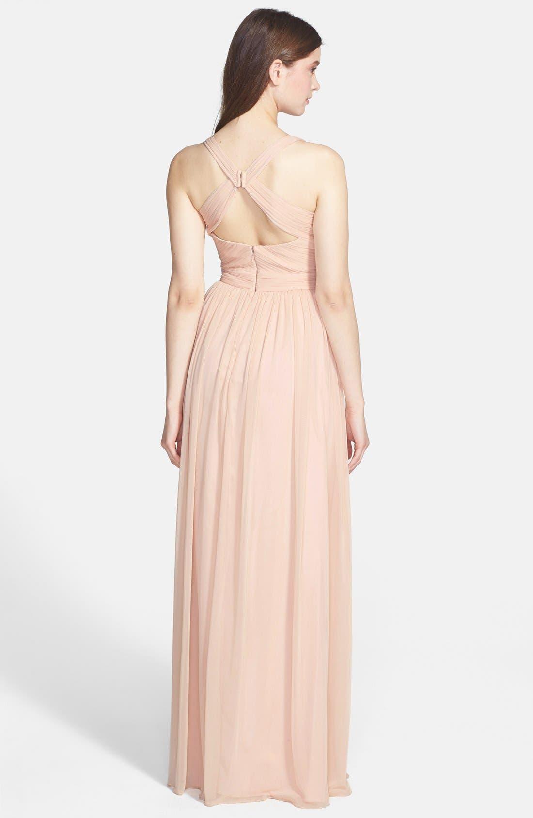 Alternate Image 2  - ML Monique Lhuillier Bridesmaids Jersey Chiffon Gown