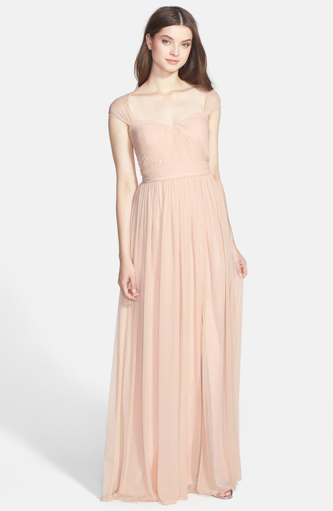Alternate Image 3  - ML Monique Lhuillier Bridesmaids Jersey Chiffon Gown