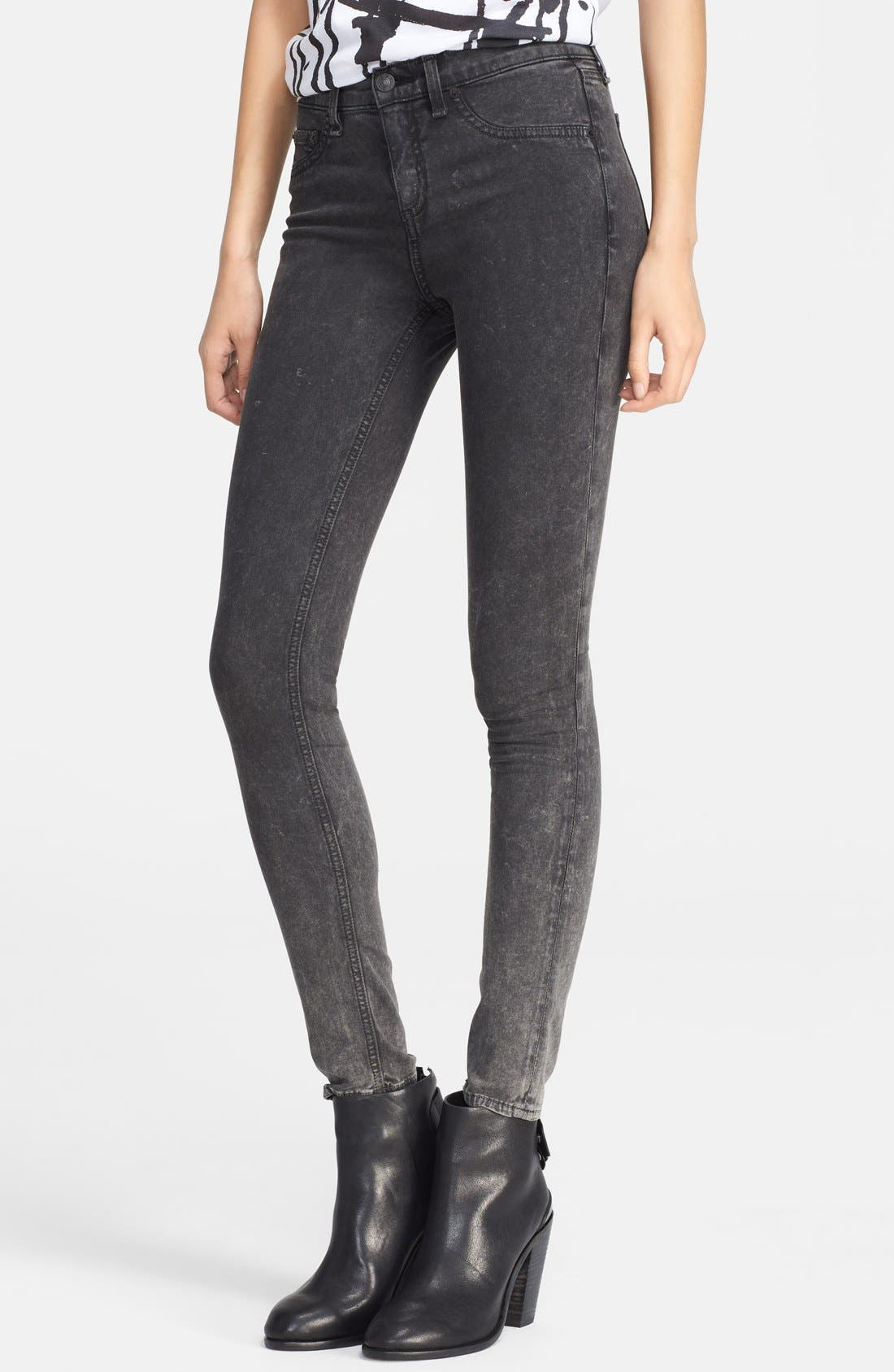 Alternate Image 1 Selected - rag & bone/JEAN 'Justine' High Rise Skinny Jeans (Rosebowl Black)