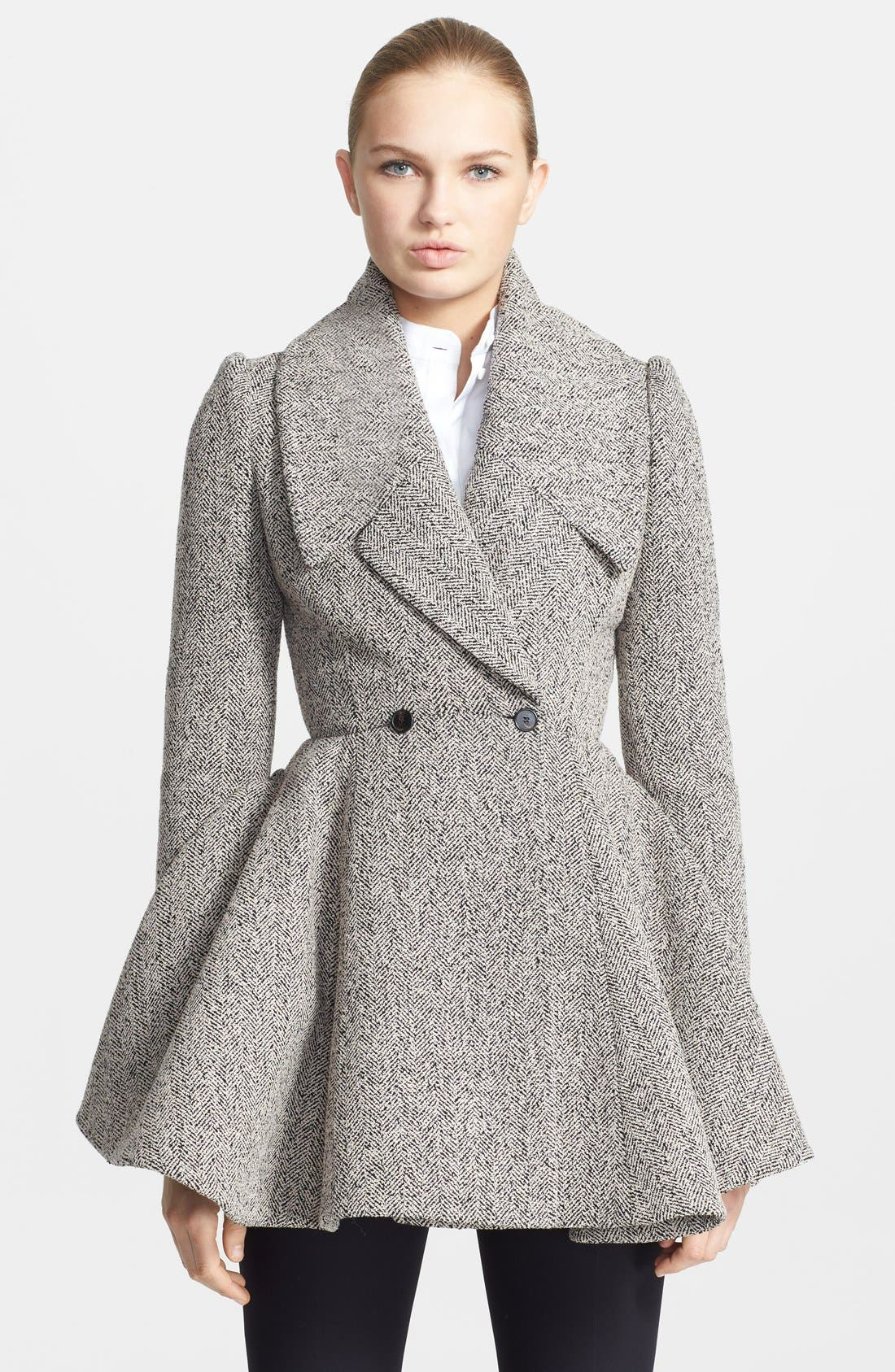 Alternate Image 1 Selected - Alexander McQueen Herringbone Bouclé Peplum Coat