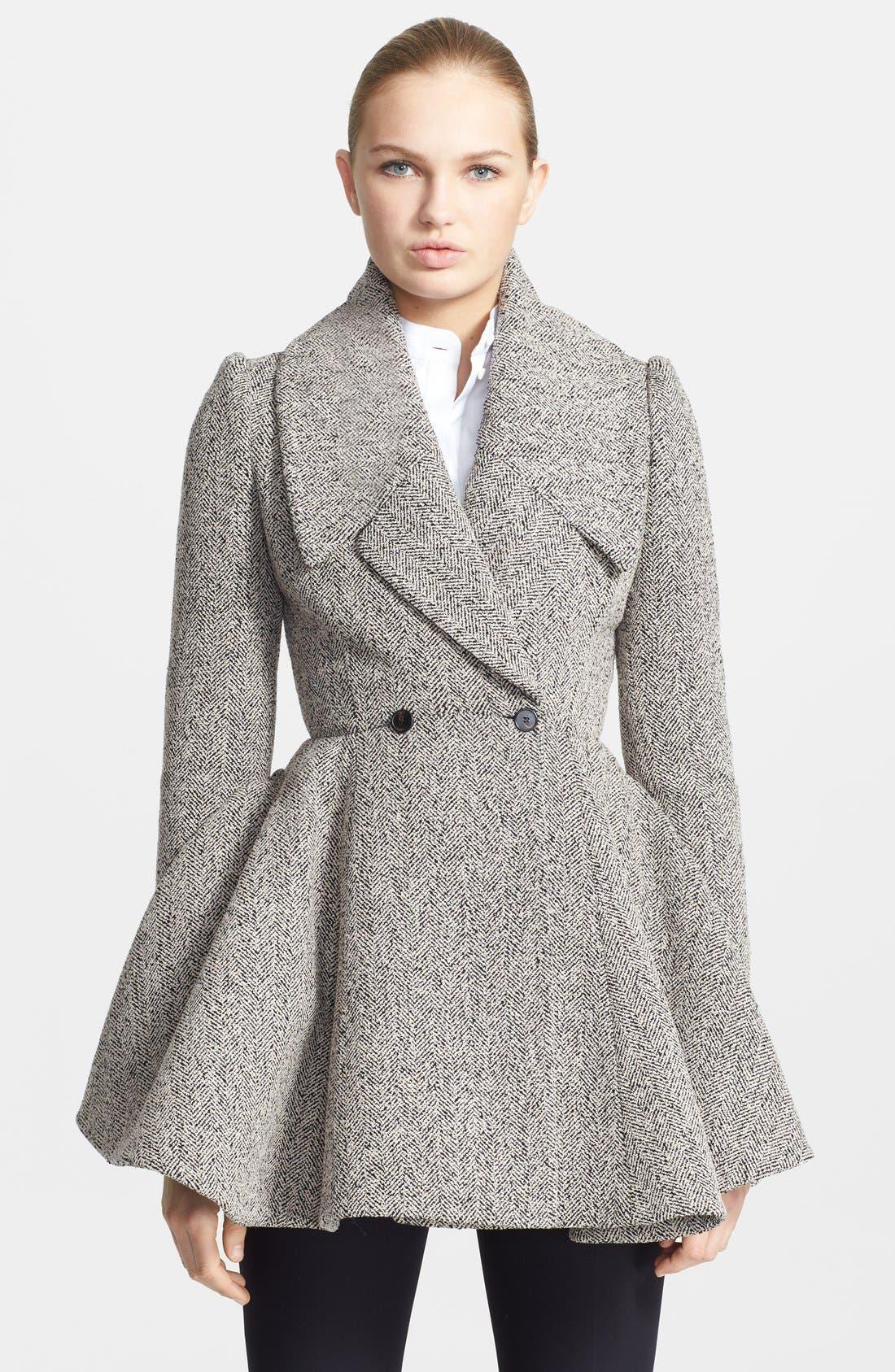 Main Image - Alexander McQueen Herringbone Bouclé Peplum Coat