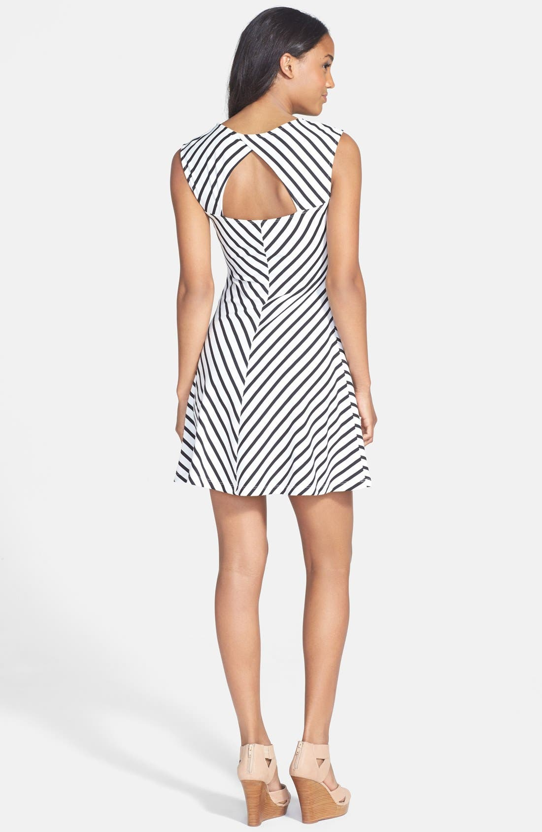 Alternate Image 2  - Soprano Cutout Stripe Skater Dress (Juniors)