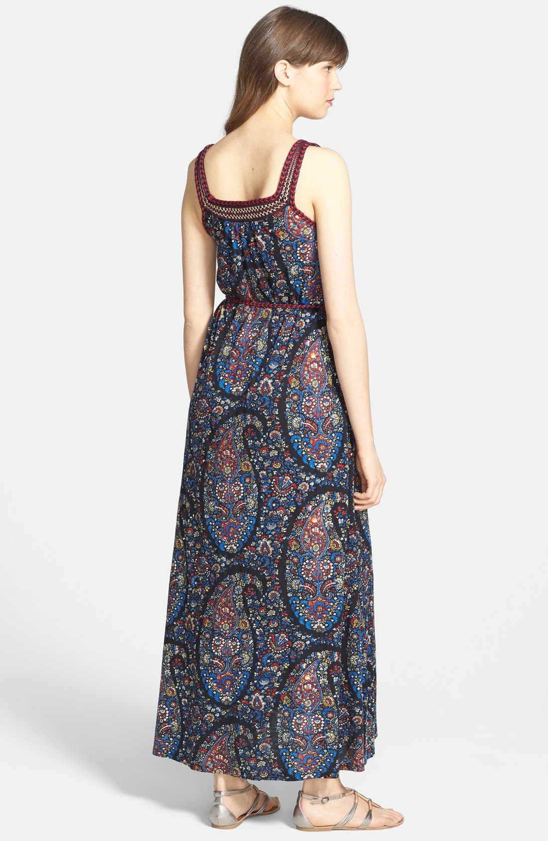 Alternate Image 2  - Lucky Brand Embroidered Paisley Print Jersey Maxi Dress