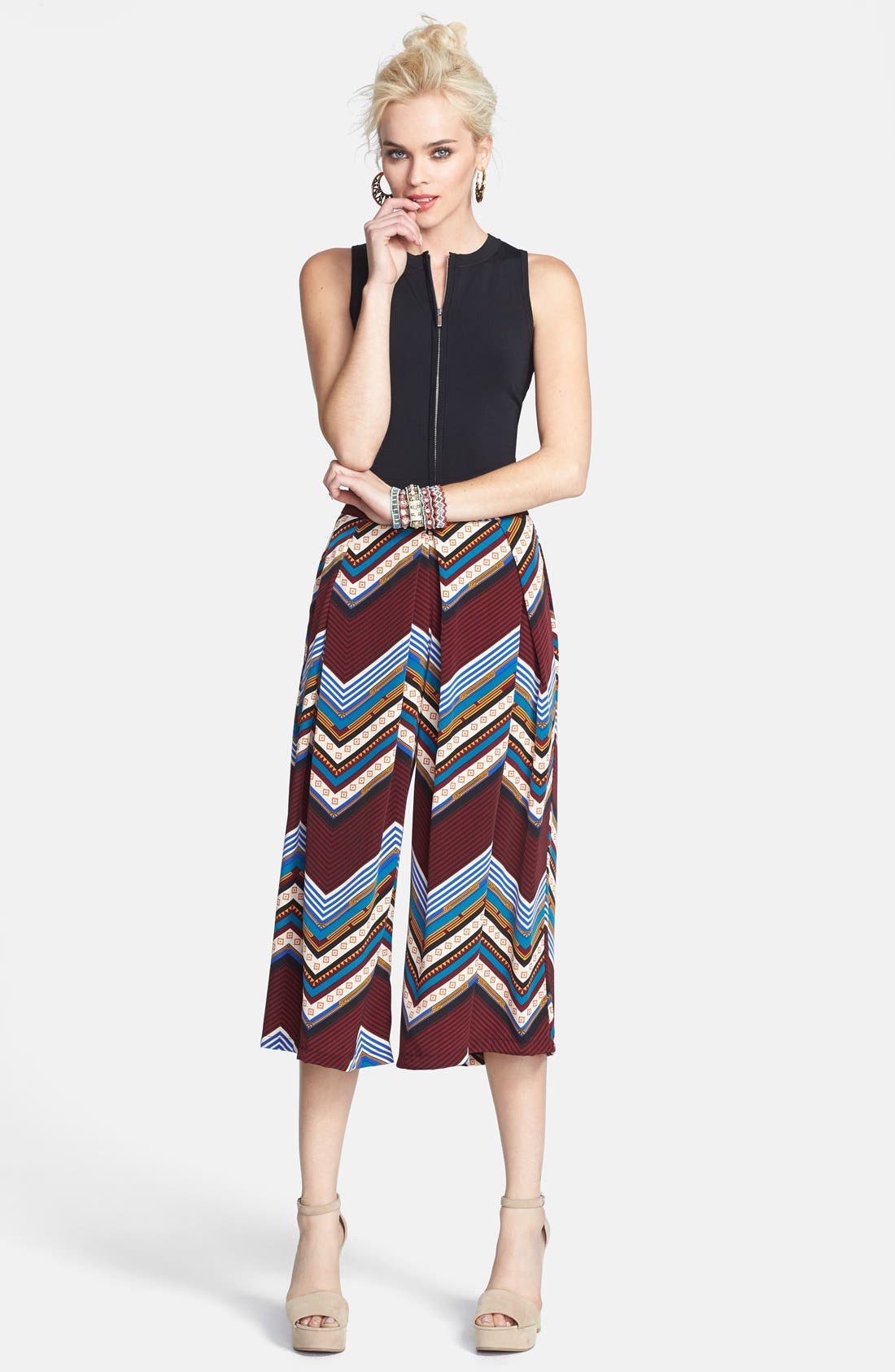 Alternate Image 4  - ASTR Print Pleat Front Gaucho Pants