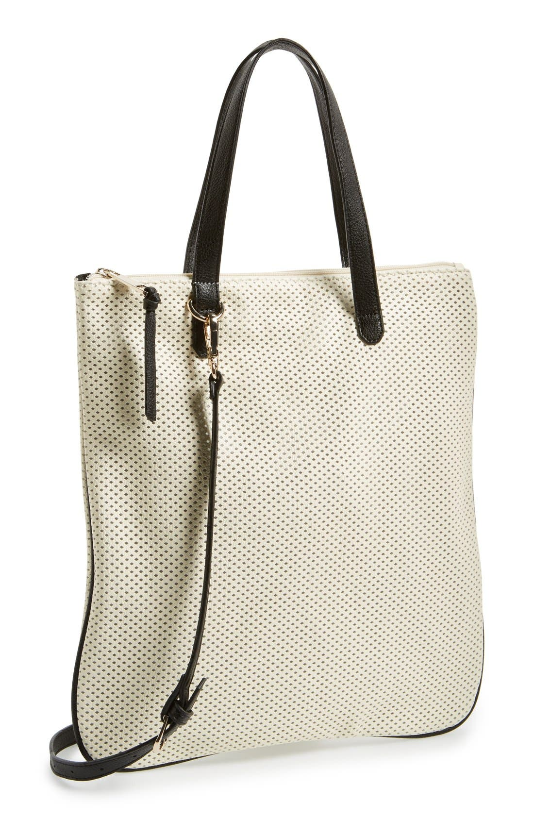 Alternate Image 1 Selected - POVERTY FLATS by rian 'Slim' Perforated Faux Leather Tote