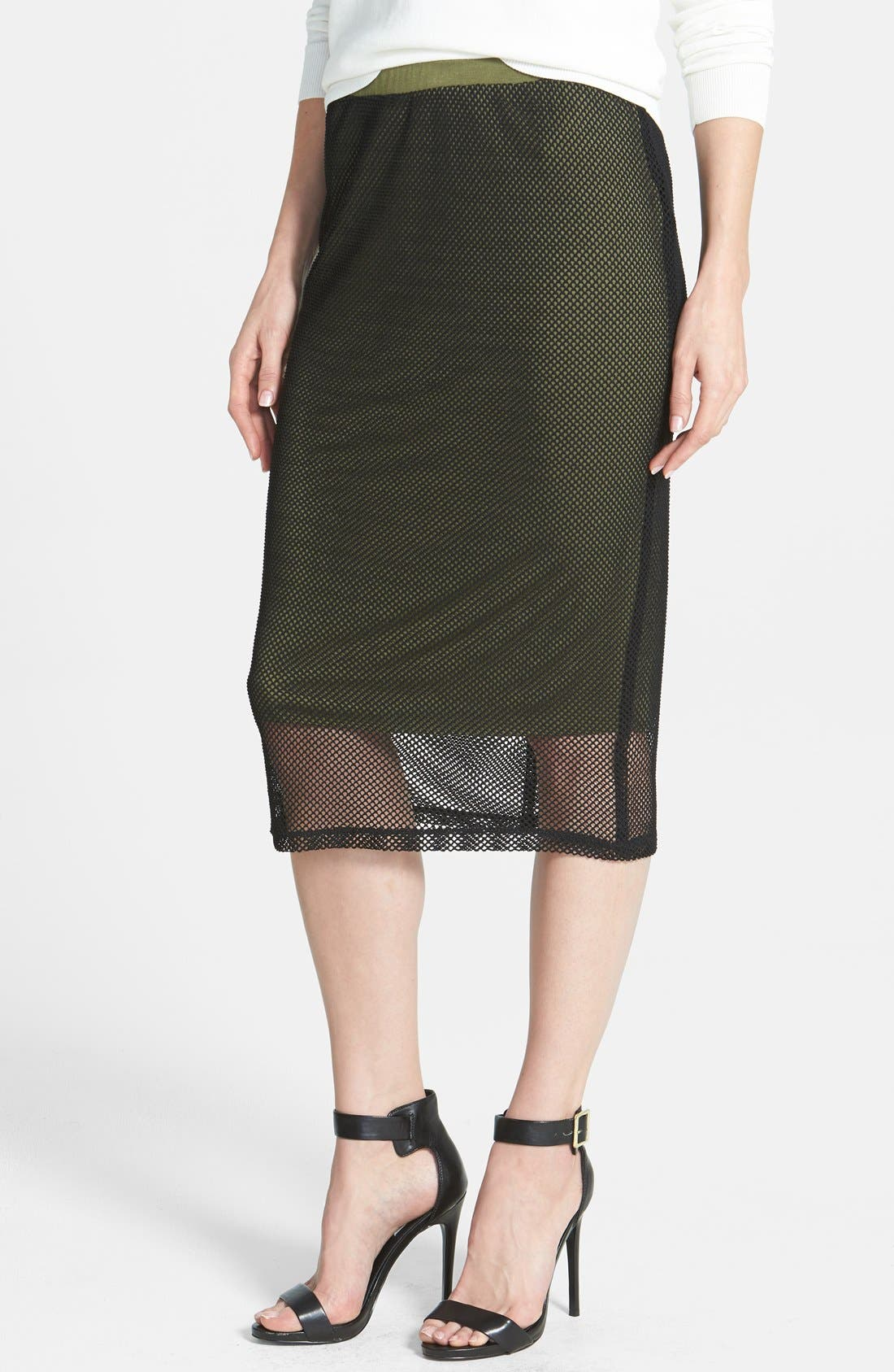 Alternate Image 1 Selected - Bobeau Crochet Mesh Skirt