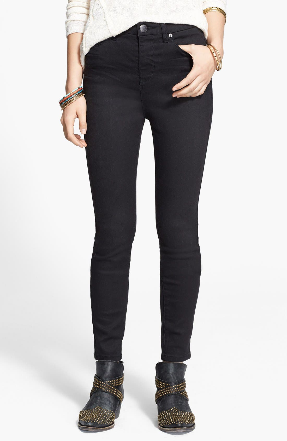Alternate Image 1 Selected - Free People High Rise Skinny Jeans (Union)