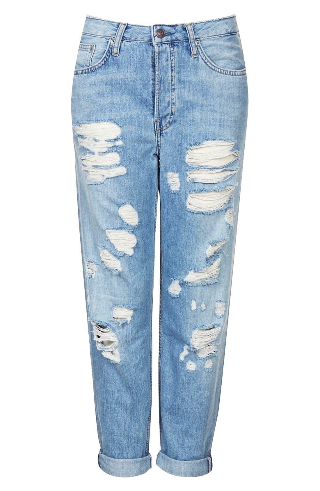 Alternate Image 3  - Topshop Moto Destroyed Boyfriend Jeans (Light Denim)