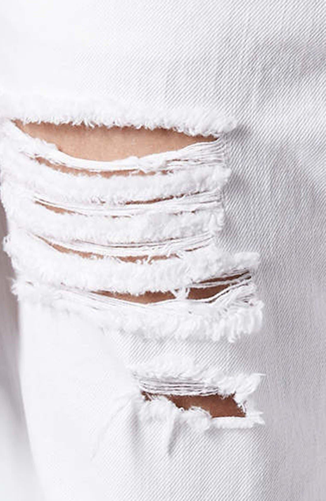 Alternate Image 4  - Topshop Moto 'Hayden' Destroyed Boyfriend Jeans (White)