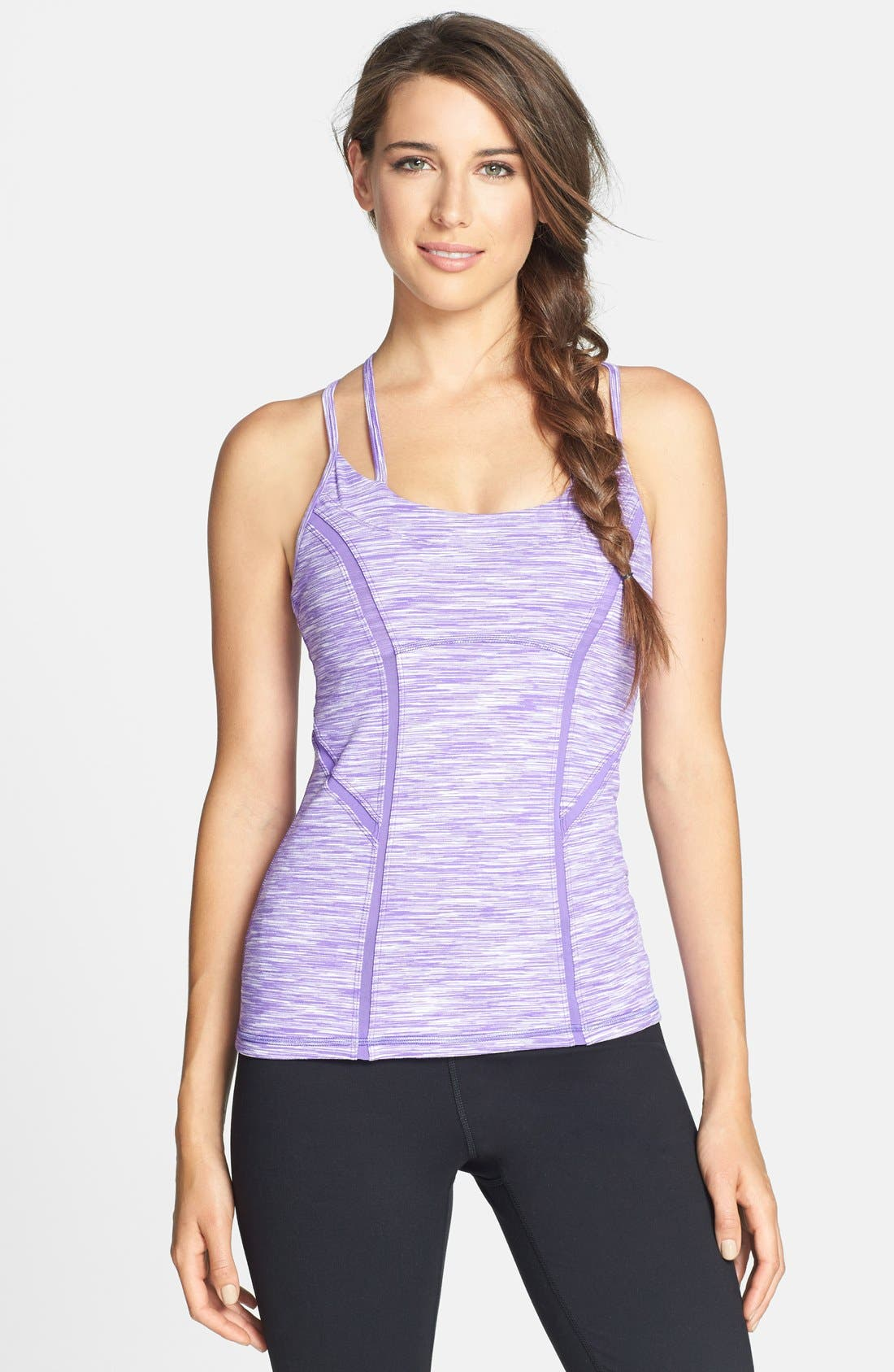 Main Image - Zella 'Alexa' Space Dye Shelf Bra Tank