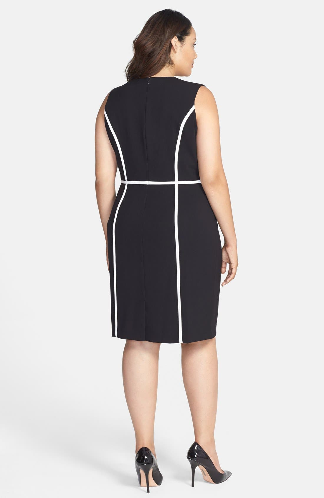 Alternate Image 2  - Calvin Klein Contrast Detail Sheath Dress (Plus Size)