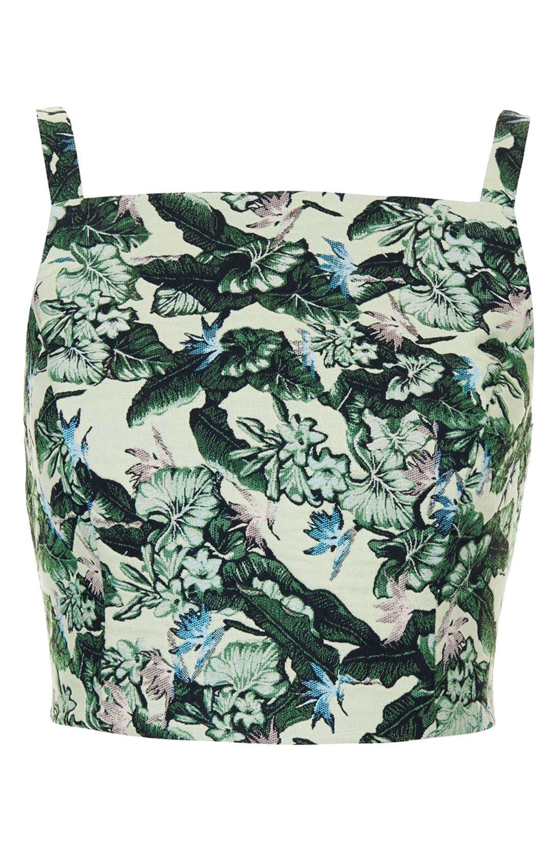 Alternate Image 3  - Topshop Floral Jacquard High Neck Bralette