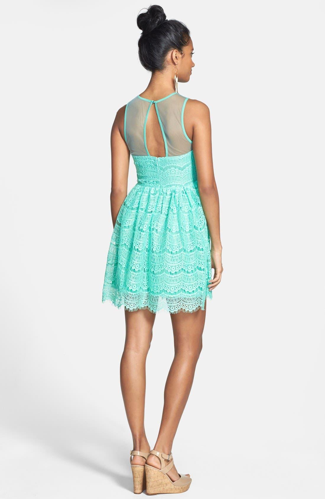 Alternate Image 2  - En Crème Eyelash Lace Skater Dress (Juniors)