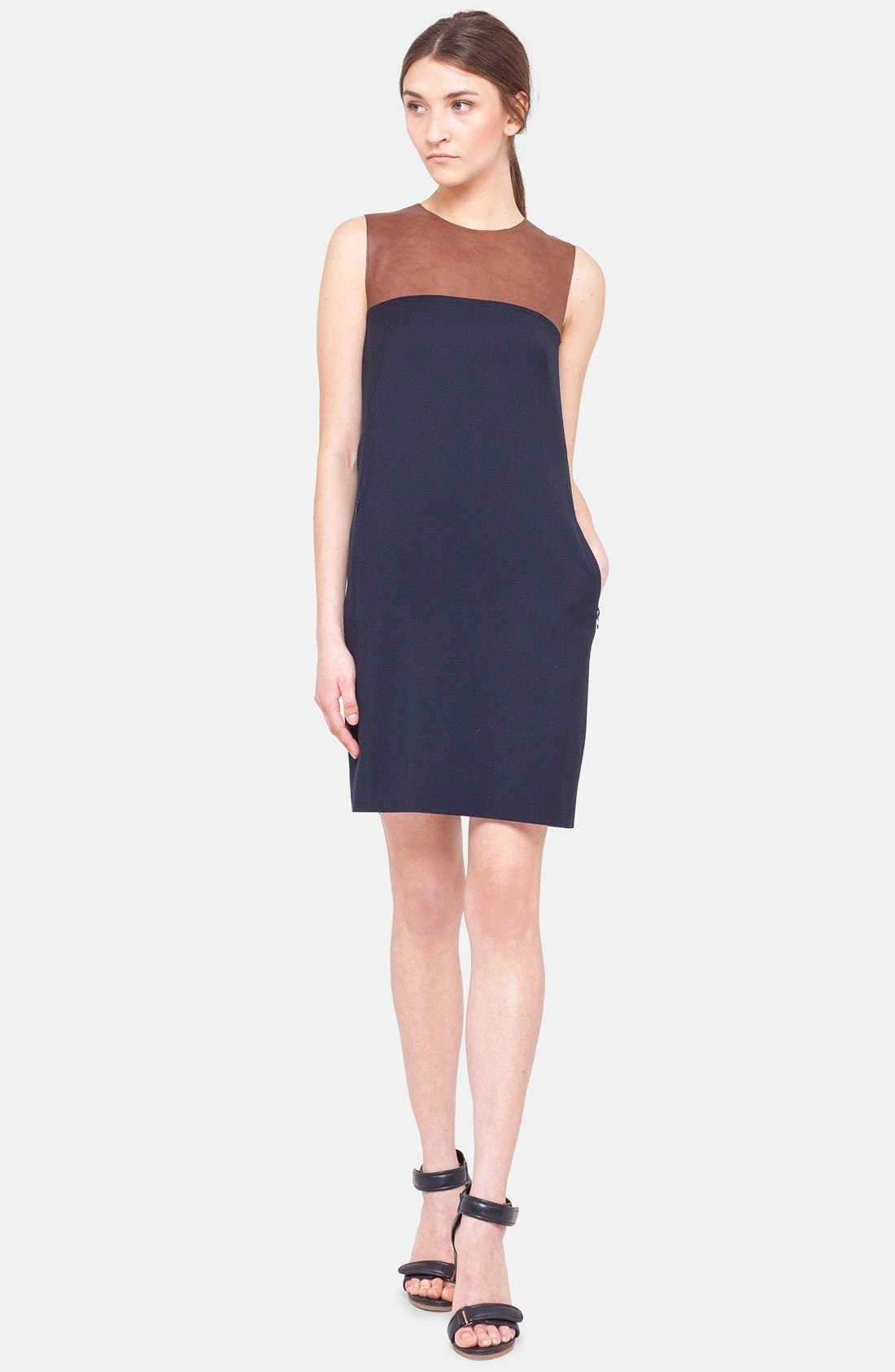 Main Image - Akris punto Leather Trim Wool Dress