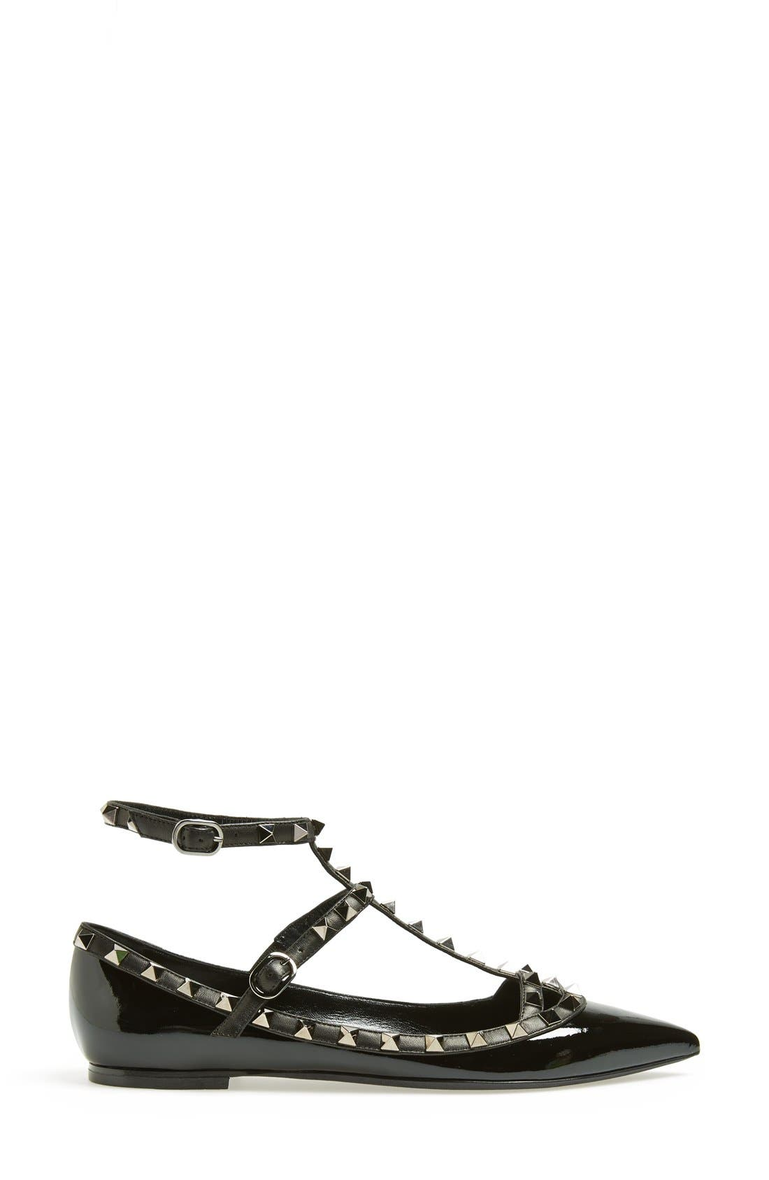 Alternate Image 4  - Valentino 'Noir Rockstud' Double Ankle Strap Patent Leather Pointy Toe Flat (Women)
