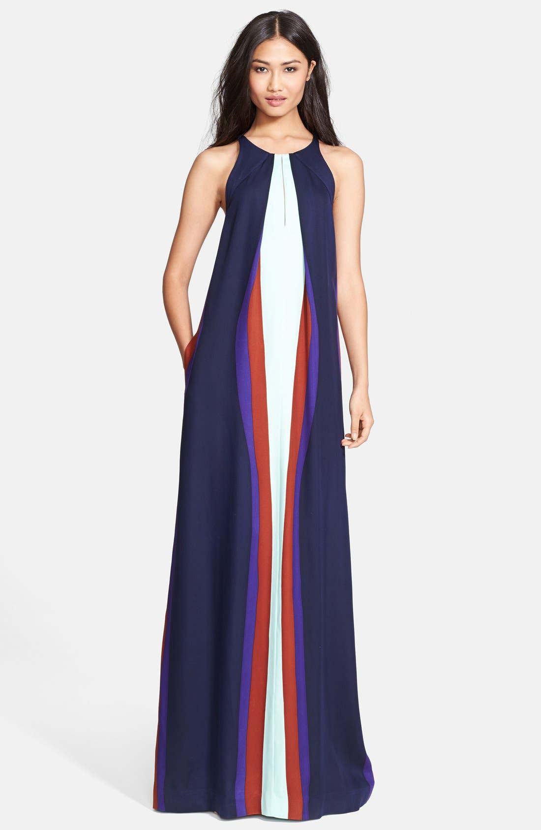 Alternate Image 1 Selected - Diane von Furstenberg 'Jordan' Print Stretch Silk Maxi Dress