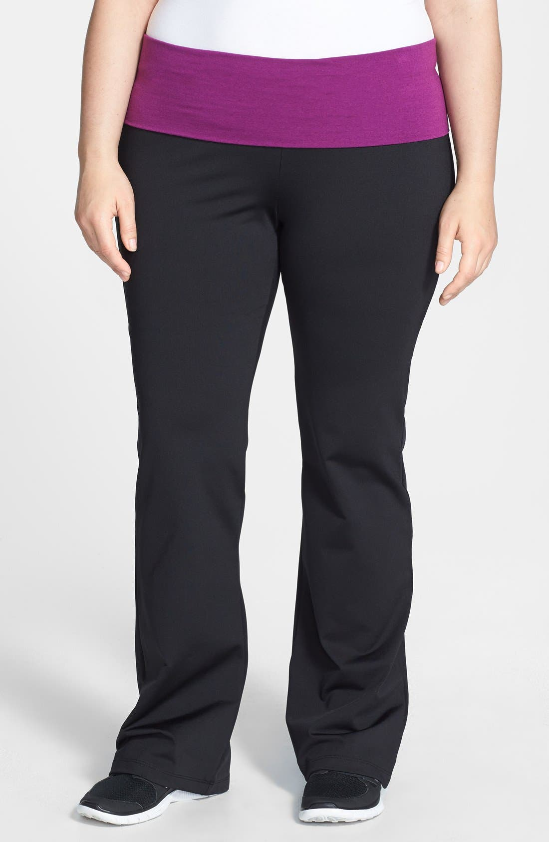 Alternate Image 1 Selected - Pink Lotus Compression Yoga Pants (Plus Size)