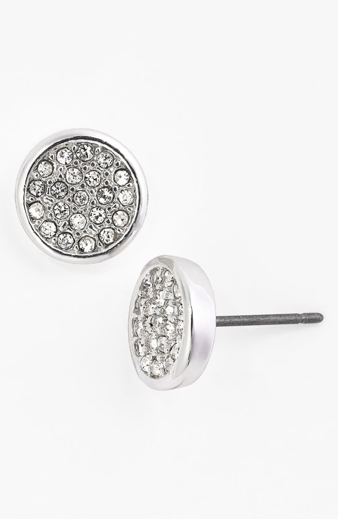 Alternate Image 1 Selected - Anne Klein Pavé Button Stud Earrings