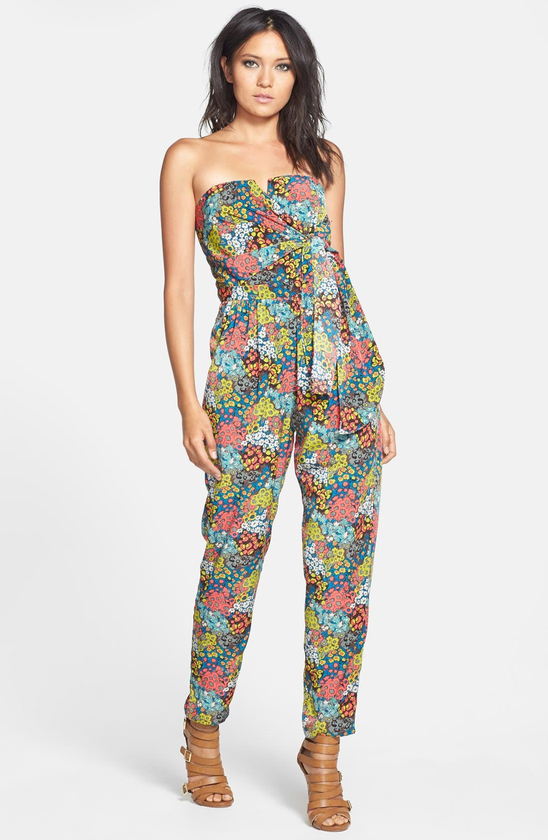 Alternate Image 1 Selected - Rules of Etiquette Tie Front Print Jumpsuit