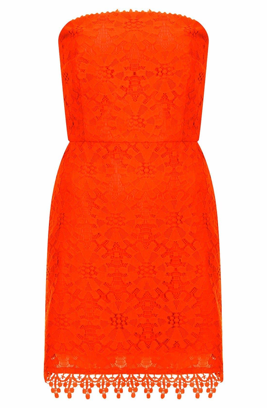 Alternate Image 3  - Topshop Wheel Lace Strapless Dress