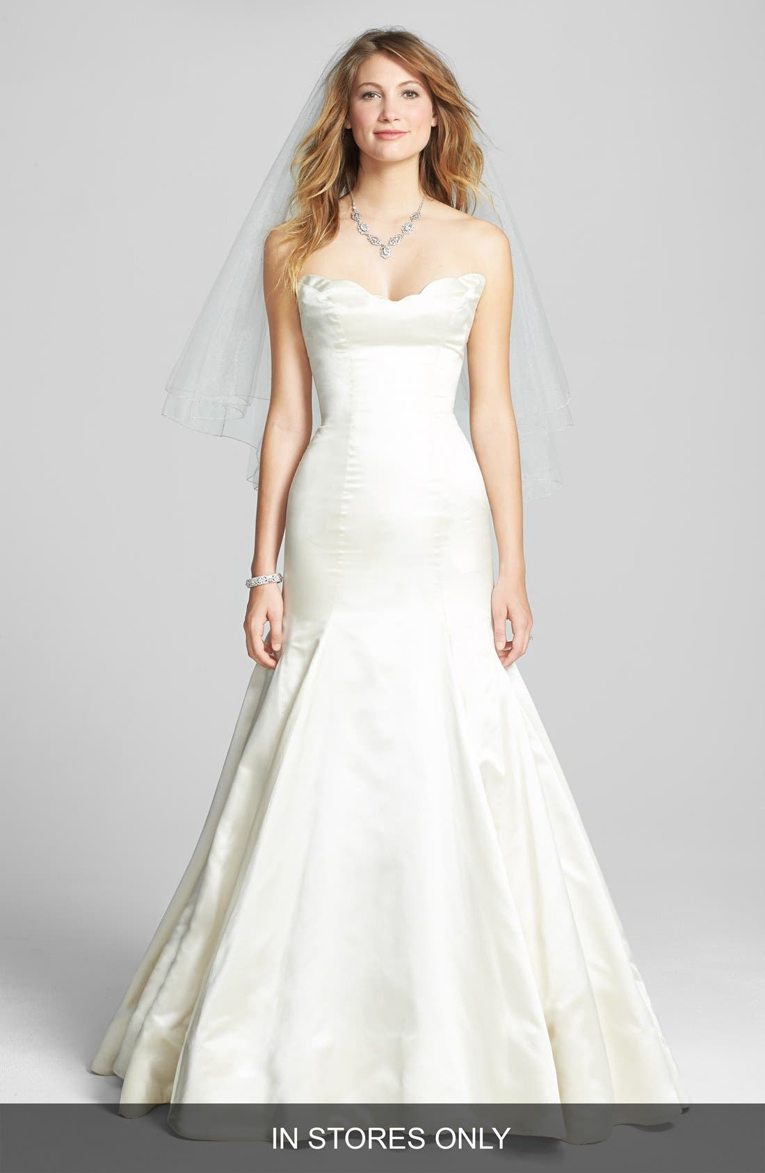 Alternate Image 1 Selected - Reem Acra 'Iris' Sculpted Neckline Strapless Satin Mermaid Gown (In Stores Only)