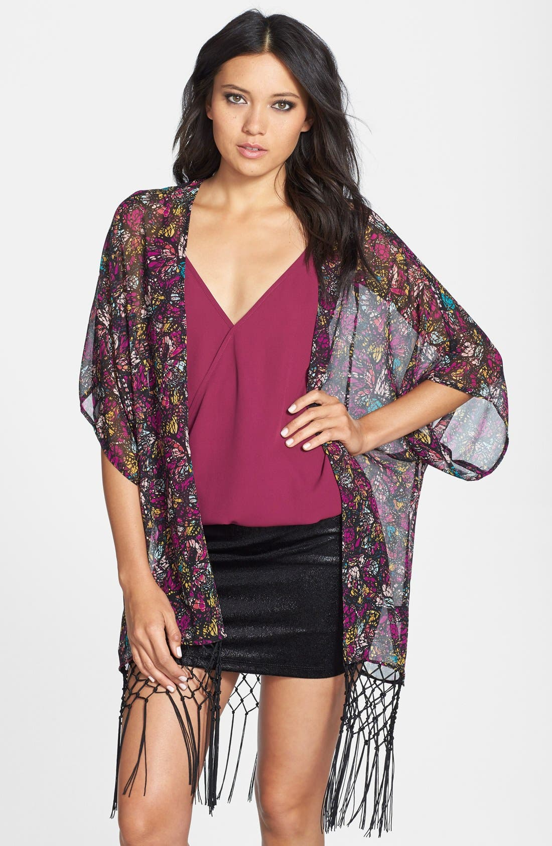 Alternate Image 1 Selected - WAYF Floral Kimono Sleeve Cardigan