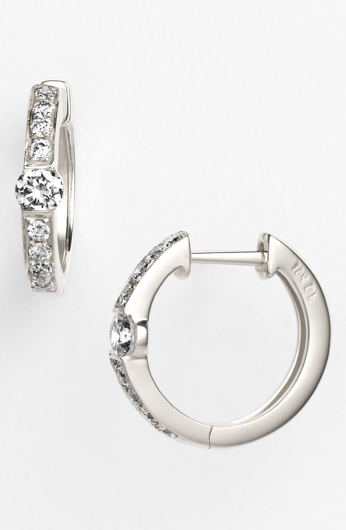 Main Image - Bony Levy 'Linea' Small Diamond Hoop Earrings (Nordstrom Exclusive)